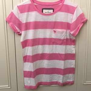 Pink and white stripe Abercrombie and Fitch tee